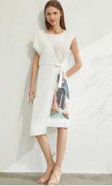 Abstraktse prindiga valge kleit 12070236