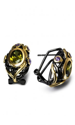 Luksuslik must-kuldne tsirkooniga kõrvarõngad E023