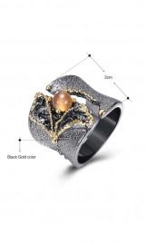 Luksuslik must-kuldne lai sõrmus WA11609