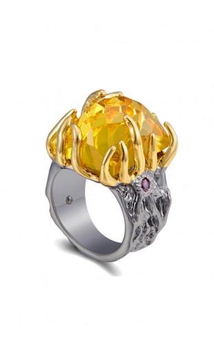 Luksuslik must-kuldne kollase tsirkooniga sõrmus WA11758