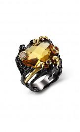 Luksuslik must-kuldne kollase tsirkooniga sõrmus ZR14173