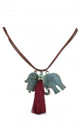 Tutiga ja elevandiga pikk vintage-stiilis kaelakee 16N0002