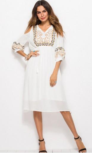 Tikandiga valge kleit DY7911