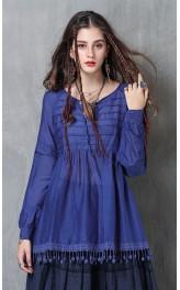 Boho stiilis pitsiga sinine pluus B9225
