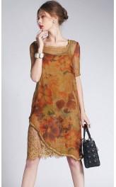 Lillemustriline mini kleit 100 % siidist A-0081