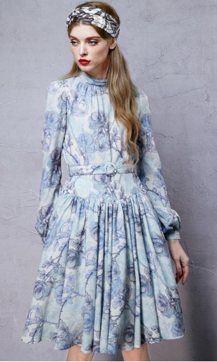 5bc2c972f41 Vintage stiilis lillemustriline kleit LA10751Q