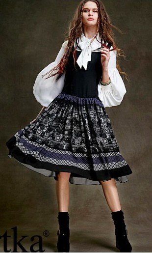 Varrukateta tumesinine valge mustriga kleit LA15052D