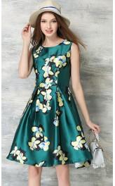 Retro stiilis lillemustriga kleit QSK398