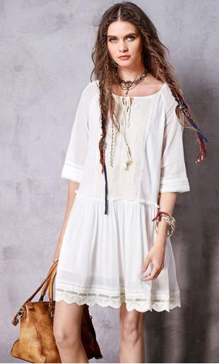 Tikandiga lühike kleit-tuunika boho stiilis LA10760C
