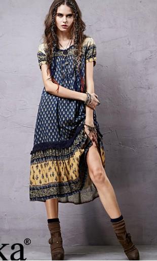 Sinine-kollane etnostiilis kleit LA14055C