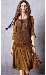 Boho stiilis narmastega kleit ZA10662Q