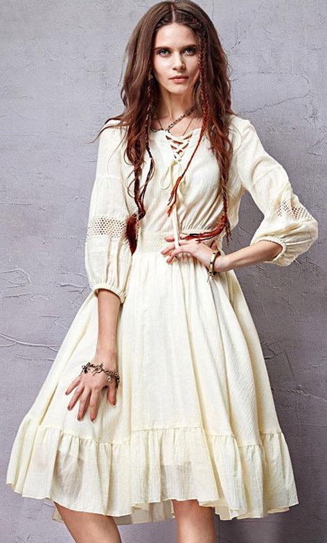 Laia seelikuga kleit boho-stiilis